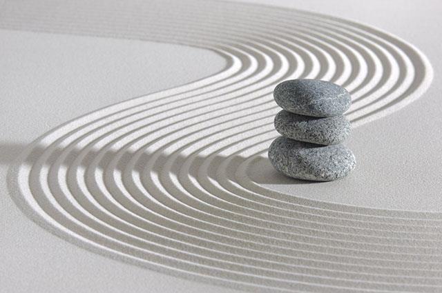 Zen sand garden and stones
