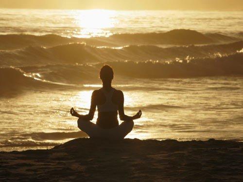 Ocean and yoga pose